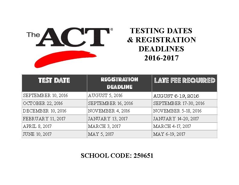 ACT TEST DATES 16-17